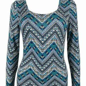 Turquoise Pattern Ballet Neck Long Sleeve Top
